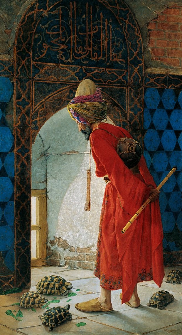 A 1906 painting picturing the spur-thighed tortoise. By the Turkish painter Osman Hamdi Bey. Artwork: Osman Hamdi Bey [Public domain], via Wikimedia Commons
