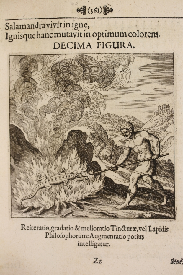 A man uses a trident to poke a salamander in a fire. What does it all mean? Engraving: Matthaeus Merian (1593-1650) via Wikimedia Commons